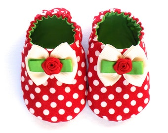 Jolly Christmas Baby Girl Shoes, Christmas Baby Girl Shoes, Crib Shoes, Slip-on Baby Shoes, 0-6 mos. Baby Girl Booties, Baby Girl Gift