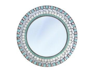 Round Wall Mirror, Aqua and Silver, Wall Decor (Ready to Ship)