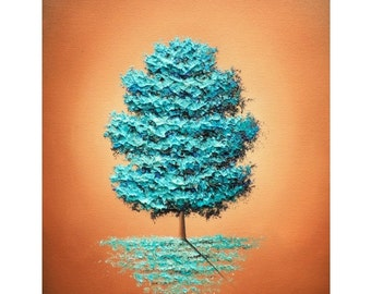 Contemporary Art Print of Blue Tree, Giclee Print of Blue Brown Landscape Painting, Trees Home Decor, Winter Wall Art, Simple Blue Tree Art