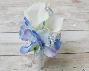 Wedding Corsage, Silk Corsage - Silk Flower Corsage, Calla Lily Corsage, Silk Wedding Corsage, Pin On Corsage, Silk Wedding Flowers, Corsage