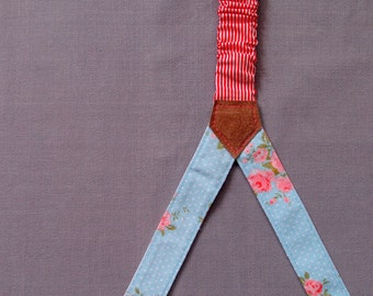 Light Blue Woman Suspenders with Delicate Flowers, Floral Suspenders,  Romantic Braces, Striped Suspenders, Women Accessories, Daughter Gift