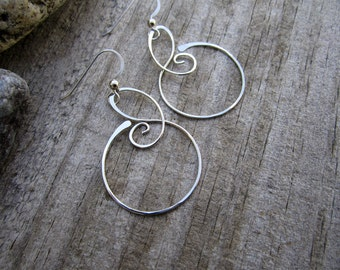 Medium Free Form Sterling Silver Earrings