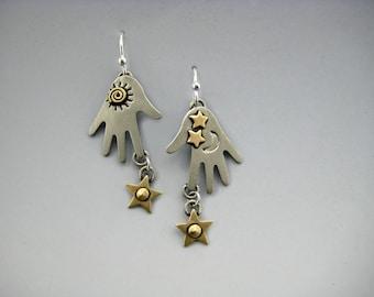 Hand Earrings, Hands With Stars Earrings, Dangle Hand Earrings, Dangle Earrings, Silver Hand Earrings, Hands With Stars, Silver Hands