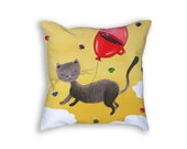 Decorative pillow for home decor idea with cat art print Throw pillows for interior decor Cats pillow cover coffee Funny cushion cover