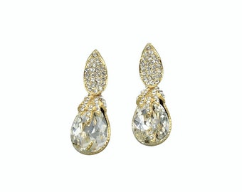 Gold Bridal Earring Wedding Jewelry, Crystal Teardrop Dangle Rhinestone Pave Organic Vine Pendant Vintage Post Back, Camilla Christine GRACE