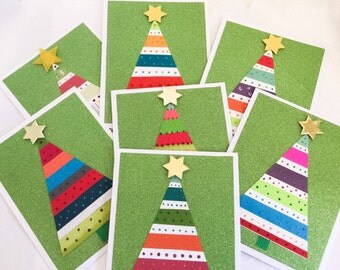 4 very sparkly Handmade Christmas Tree Cards - Holiday cards - Traditional-  Bright - Cheerful cards - sparkly and bright - handmade -Wcards