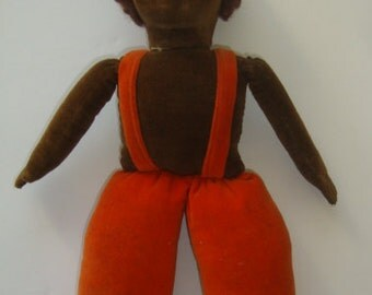 """Vintage NORAH WELLINGS: 13"""" Cloth doll with overalls, nice vintage - Made in England"""