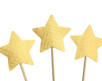 Gold Star Cupcake Toppers / Appetizer Picks / Food Picks / New Year Party Decor / Holiday Party Decor