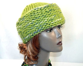 Pistachio Green Russian Style Hat, Hand Knit Cossack Hat, Wool Ski Cap, Winter Toque, Warm Winter Hat, Man's Hat, Woman's Hat, Ready to Ship