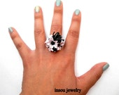 Flower Ring Flower Jewelry Black Orchid Pink Black Jade Jewelry Statement Ring Flowers Large Ring Handmade Jewelry Polymer Jewelry Gift