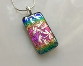 Rainbow Dichroic Silver Dragonfly Pendant, Fused Glass Jewelry, Rainbow Dragonfly Necklace