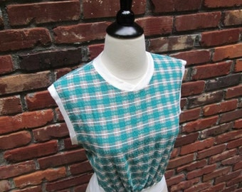 Fabulous Vintage 1940s 40s Green Plaid Cotton JD Jumper Top with High Waistband -Bad Girl-Juvenile Delinquent-Pinup-Bombshell-Vixen