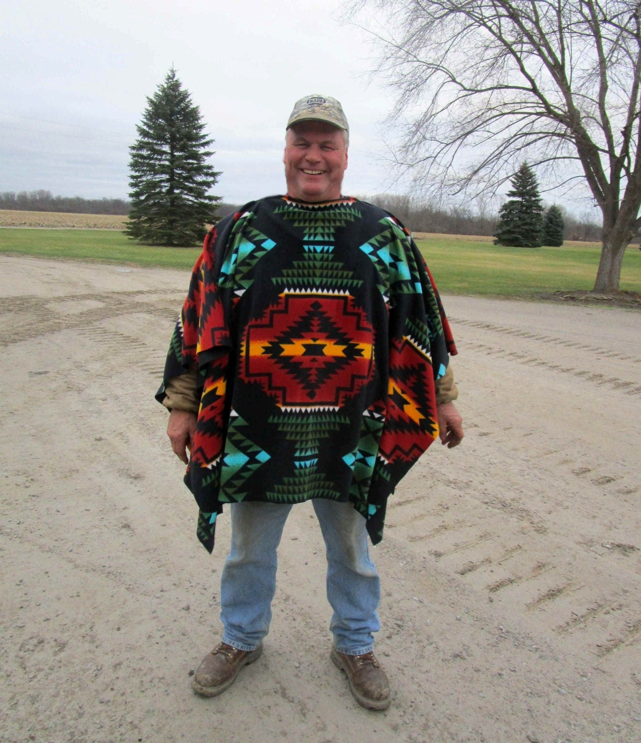 Clint Eastwood Style Poncho In Southwest Print Fleece Native