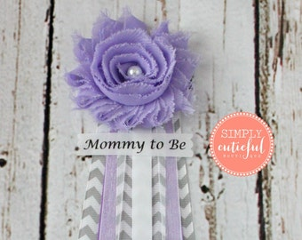 Lavender Gray Chevron Baby Shower Corsage  with Mommy to Be Grandma to Be and Custom Pins Badge