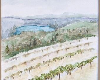 Original Watercolor painting, Vineyard mountain landscape painting, California mountains, California wine country, mountain landscape art