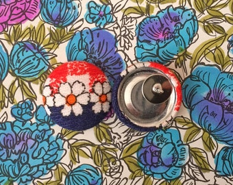 Wholesale Button Earrings / Vintage Fabric Covered / Gifts for Her / Bulk Jewelry / Red White Blue / Party Favors / Stud Earrings