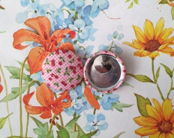 Stud Earrings / Fabric Covered Button Earrings / Wholesale Jewelry / Cherries and Plaid / Gifts for Her / Vintage Inspired Fabric / Fruit