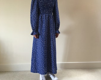 SALE Vintage 1970s Polka Dot Blue and white Maxi Dress Prairie Girly 100% Cotton Made in England