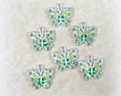 Butterfly Charms - Green Enamel and Rhinestone Butterfly Charm - Silver and Green Butterfly Charms - Qty. 4