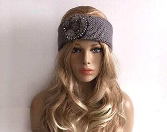 grey knit headband / Ear Warmer gift or for you
