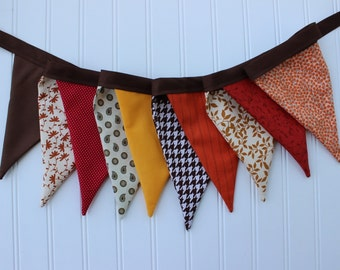 Autumn Harvest Fabric Banner. Fall Bunting. Thanksgiving Pennant Garland. Fall Decor. Harvest Home. Photography Prop. Give Thanks Banner.