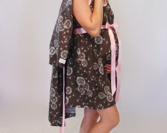 Medium maternity delivery gown and  robe set, nursing breastfeeding dress, hospital gown