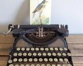 L.C. Smith-Corona No. 4 Portable Typewriter - Black with Gold Trim