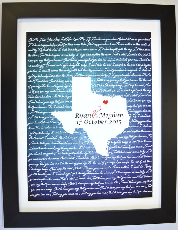 Wedding Gifts For Couple Etsy : Wedding Gifts for Couple, Wedding Song Lyric Art Wedding Vow Print ...