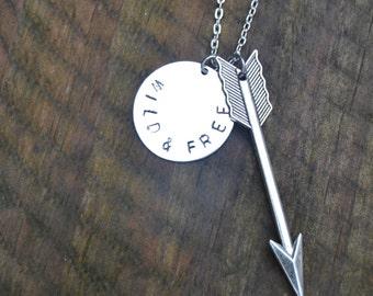 Wild necklace, arrow necklace silver hand stamped wild and free necklace, silver arrow pendant