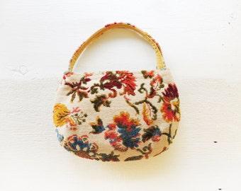 Floral Tapestry Shoulder Bag/Bold Colorful Tapestry Bag/Boho Chic Bag/60's/70's Boho/Hippie Bag/Gypsy Needlepoint/Mid Century/Bold Floral