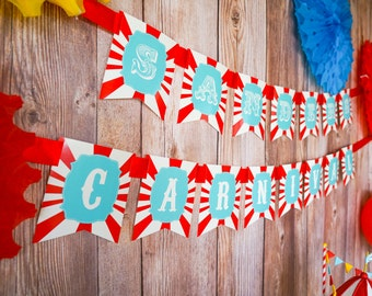 Carnival Birthday Banner - Happy Birthday Banner - Carnival Signs - Instant Download and Edit File at home with Adobe Reader