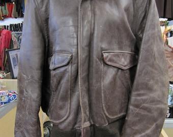 1940s / 1950s Horsehide Jacket // Flight Jacket // Leather Bomber Jacket // Brown Leather Jacket // 50s Clothing // Mens Large