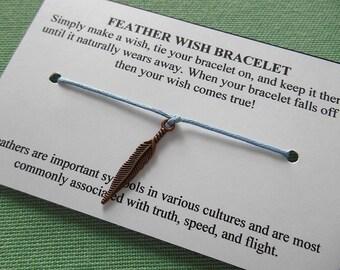Feather Wish Bracelet - Wish Bracelet - Feather Bracelet - Party Favor - Wishing Bracelet - Feather Charm Bracelet - Gift
