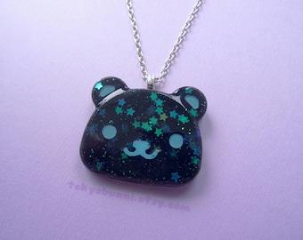 Black Starry Bear Head Necklace- kawaii- Creepy Cute- Fairy Kei- Sweet Lolita- Gothic Lolita