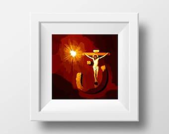 Christian Art, Jesus Christ, Nazarene Art, Christian Gifts, Christ Art, Digital Art, Jesus of Nazarene, Art Prints, Jesus on the Cross