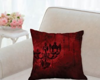 Red and Black Vampire Designer Pillow with Bat on Chandelier