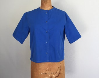 Vintage 1960s Top / As Is 50s 60s Blue White Contrast Stitch Button Front Baseball Reminiscent Cotton Shirt - Large/XL
