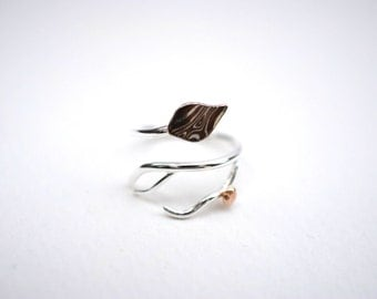 Mokume Leaf Asymmetrical Roots Ring with Raw Gold Accent (Antler Root Branch Nature Inspired Adjustable Twist Ring with Silver and Copper Mo