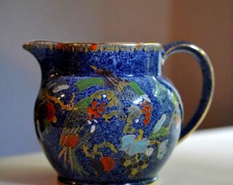 Bursley Ware Pitcher Selah Pattern Blue Parrot  Antique