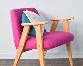 Restored Retro Armchair in Pink Wool