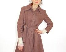 Brown vintage coat, victorian coat,  wool coat, women overcoat, elegant coat, winter coat, warm overcoat, trench coat, S/M
