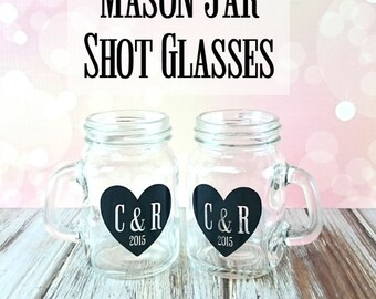 Mason Jar Favors, Mason Jar, Shot Glasses, Wedding Favors, Personalized Wedding Favors, Shot Glasses, Party Favors, Engagement Gift