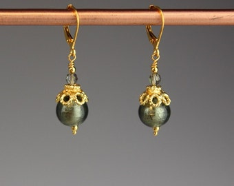 "Venetian Murano glass earrings, Venetian earrings, Murano earrings, Venetian glass earrings, Gold earrings - gift for her,""Gray Lace"""