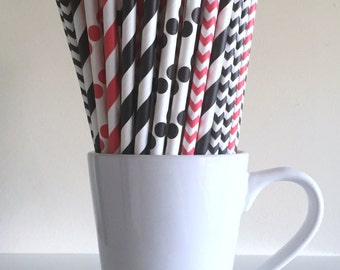 Red and Black Striped, Chevron, Polka Dot Paper Straws Pirate Arizona Cardinals Party Supplies Party Decor Bar Cart  Graduation