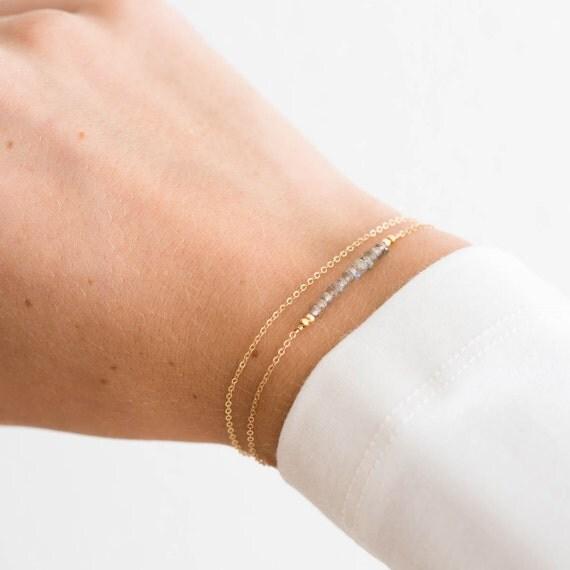 Dainty Gemstone Bracelet, Birthstone Bracelet / Gold, Rose Gold, Sterling Silver / Delicate Gemstone Bracelet Bar Layered and Long LB601