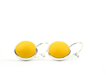 Mustard yellow drop earrings, yellow lever back earrings, mustard earrings, clip back earrings, yellow drop earrings, lever back earrings