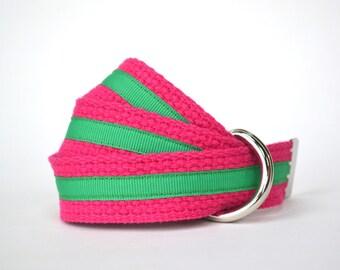 Pink and Green Ribbon Belt, Child Belt, Adjustable Kids Belt Pink with Stripe
