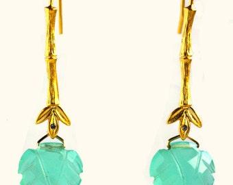 Gemstone earrings, carved leaf chalcedony, aqua chalcedony, bamboo hook earring post, bridesmaid jewelry, brides mom earrings, boho