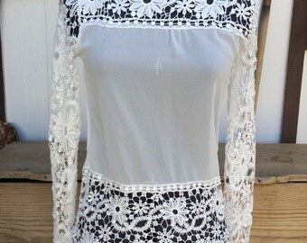 Vintage 70s Crochet Long Sleeve Shirt