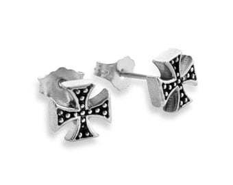 Independent Cross Medieval Religious Stud Earrings #925 Sterling Silver #Azaggi E0340S
